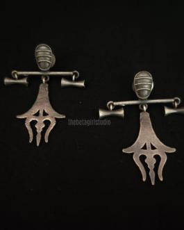 Trishul Mini Silver look alike earring