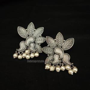 Leaf with Moti Silver Look Alike studs