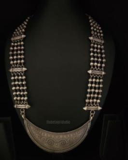 Statement Silver Look Alike long Necklace