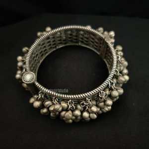 Ghunghroo Silver Look Alike broad Kada