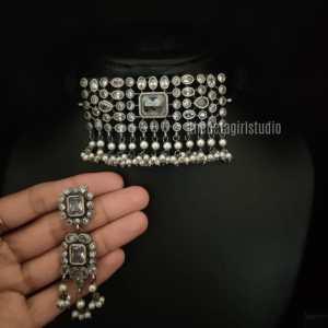 Mini White Stone Silver Look Alike Choker