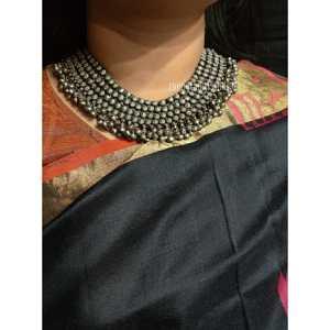 Broad Silver Look Alike Ghunghroo Necklace