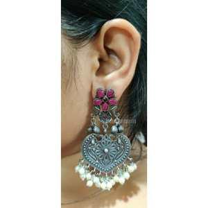 Flower studded Silver Look Alike Earring