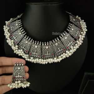 Peal Heavy Silver Look Alike necklace