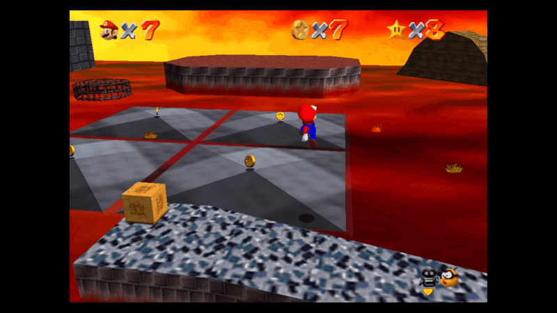 Jumping around Super Mario 64's playgrounds is still mad fun today! Too bad the aspect ratio is only SD (4:3) on Switch...