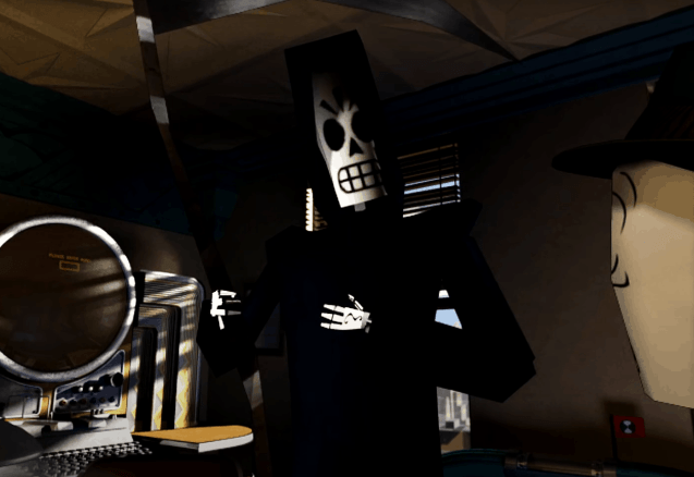 Grim Fandango Remastered Review, Manny Calavera, reapeer outfit