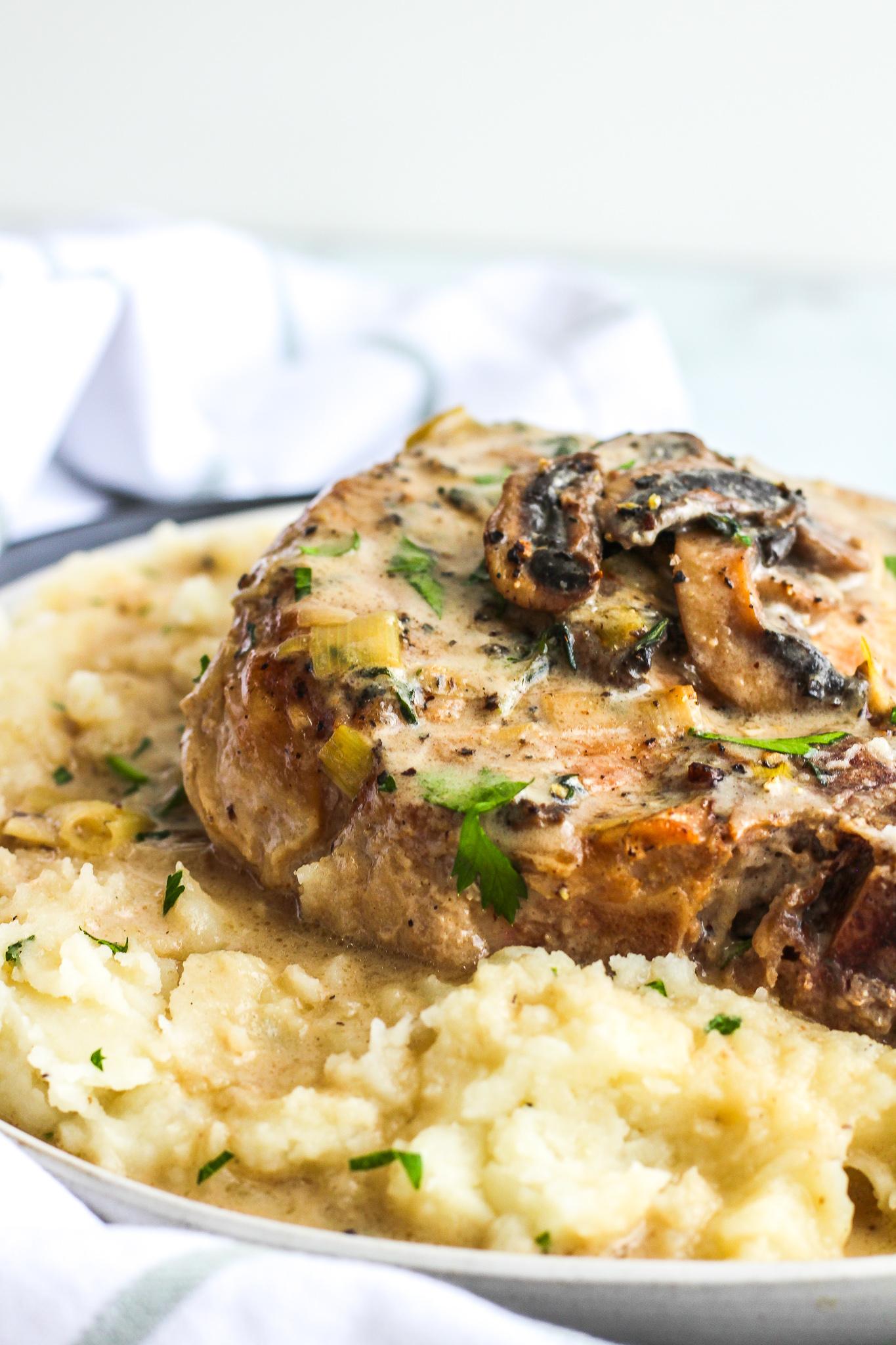Pork Chops with Mushroom & Leek Cream Sauce