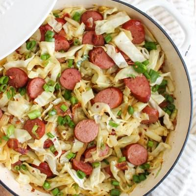 Braised Cabbage with Kielbasa and Bacon – Keto, Paleo, Whole 30