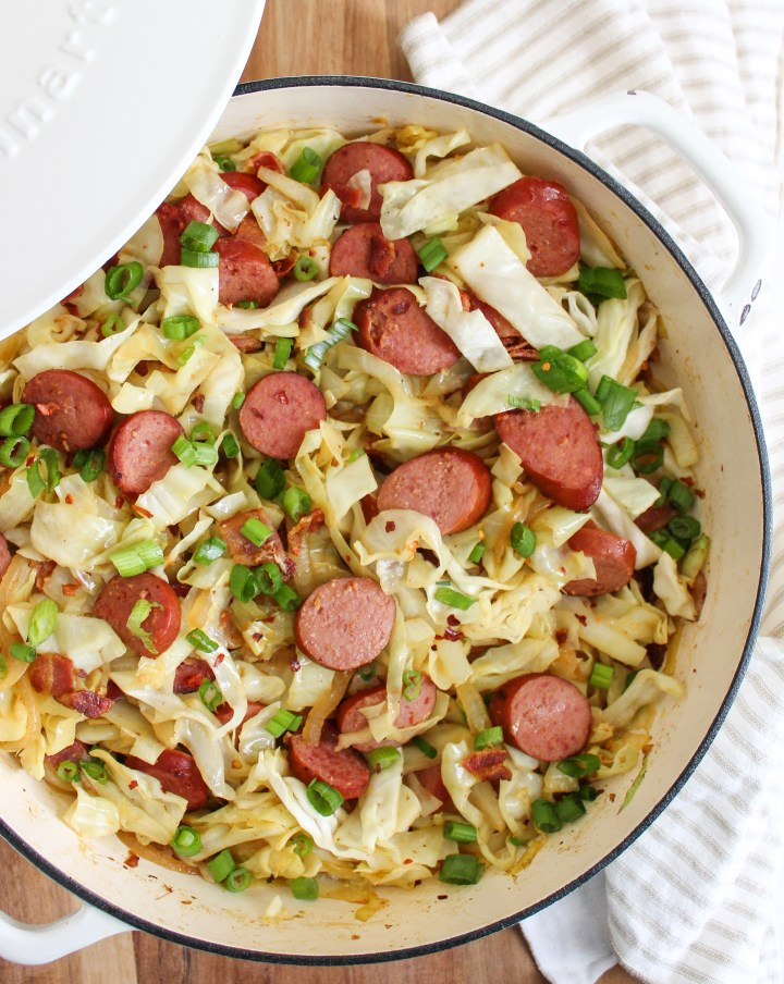 Braised Cabbage with Kielbasa and Bacon