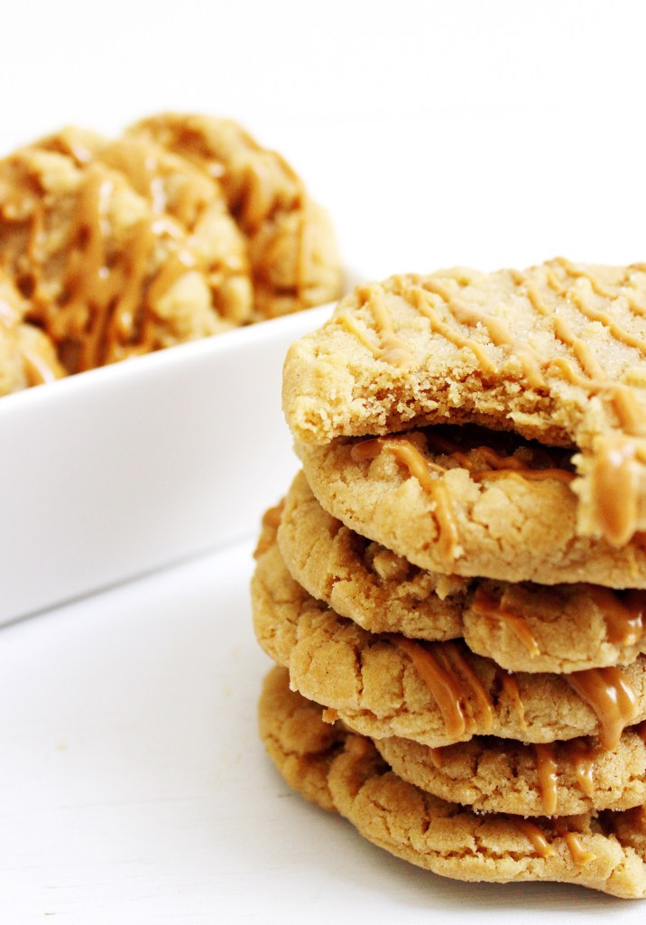 Stack of gluten free peanut butter cookies