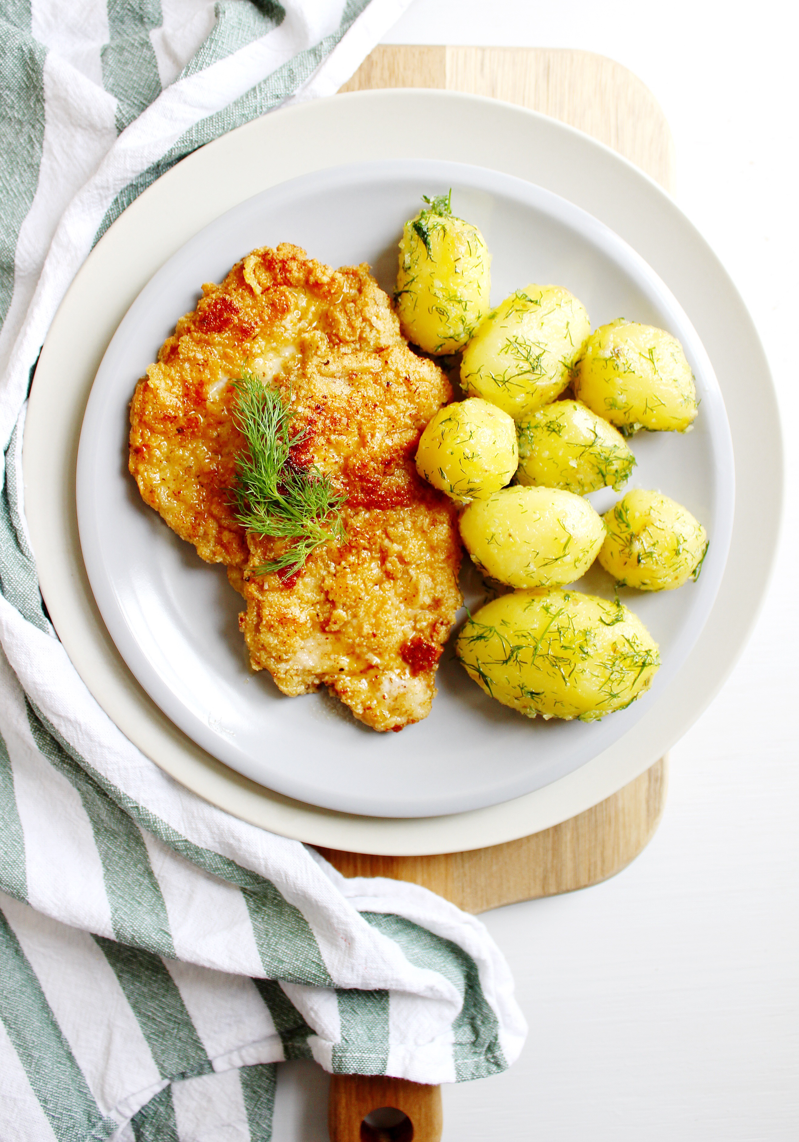Pork Cutlets with Fresh Dill and Dill Potatoes