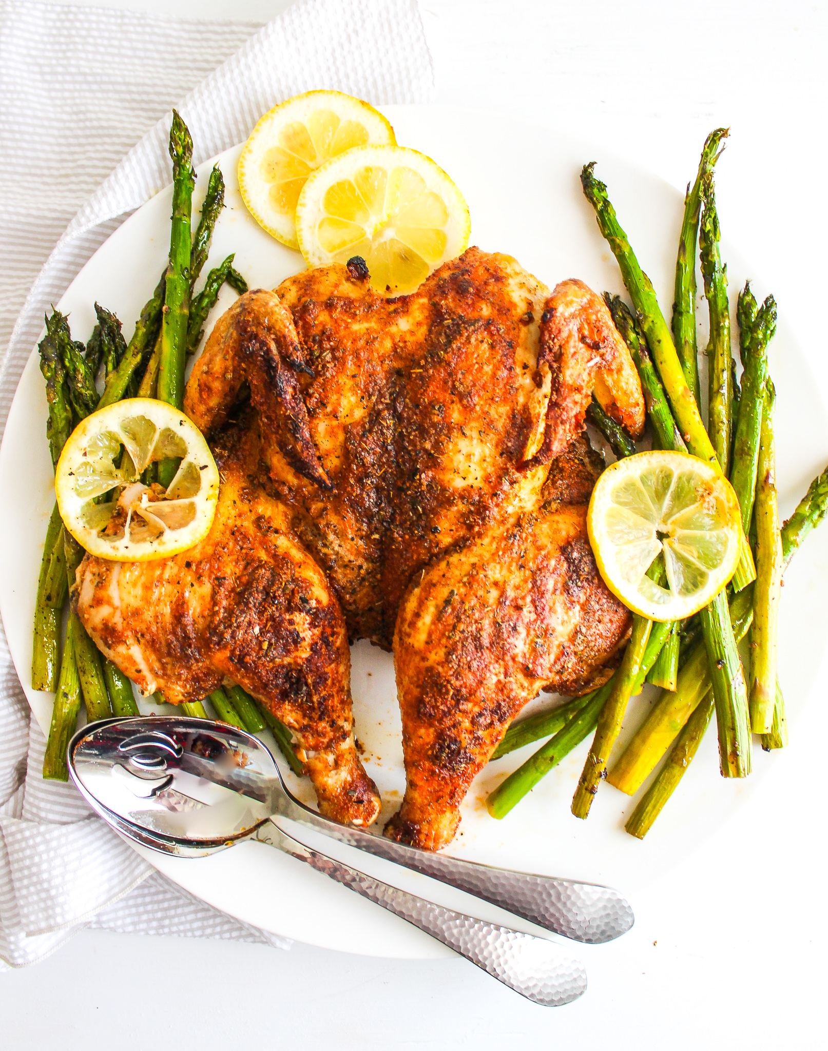 Spiced Butterflied Chicken with Asparagus