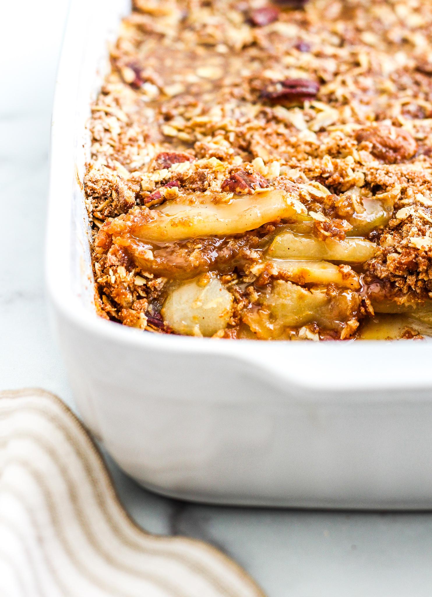 Gluten Free Apple & Pear Crisp in a white baking dish