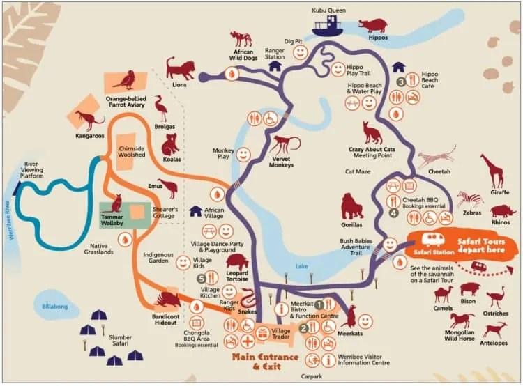 Werribee Zoo map