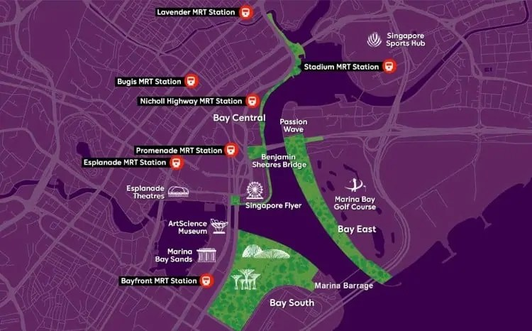 Location and layout of Gardens by the Bay