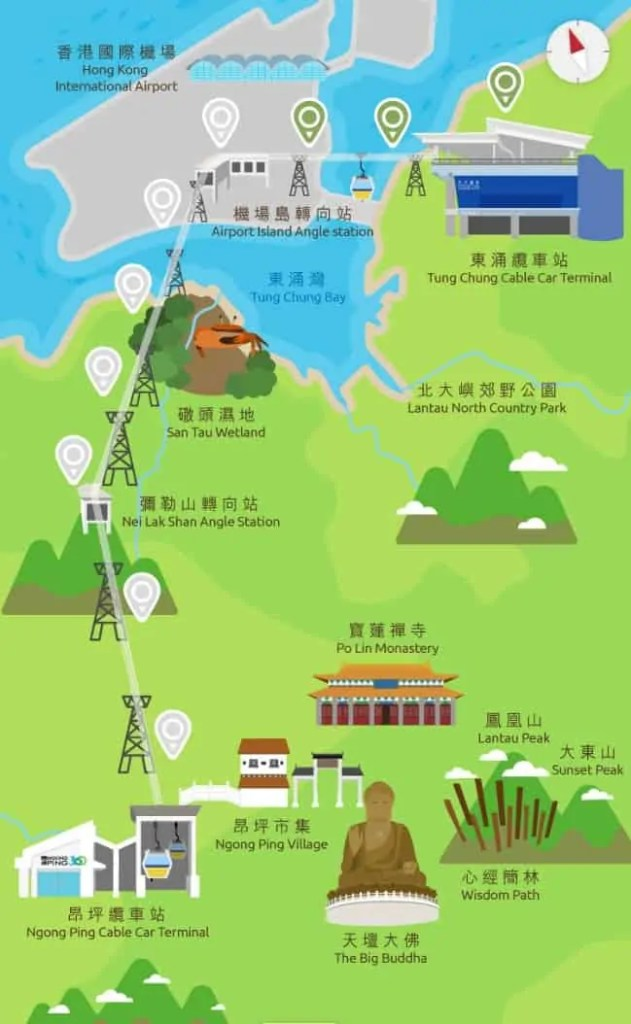Ngong Ping 360 Cable Car's route