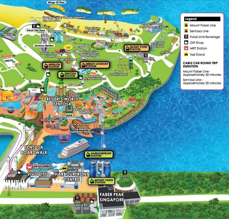 Singapore Cable Car Route map