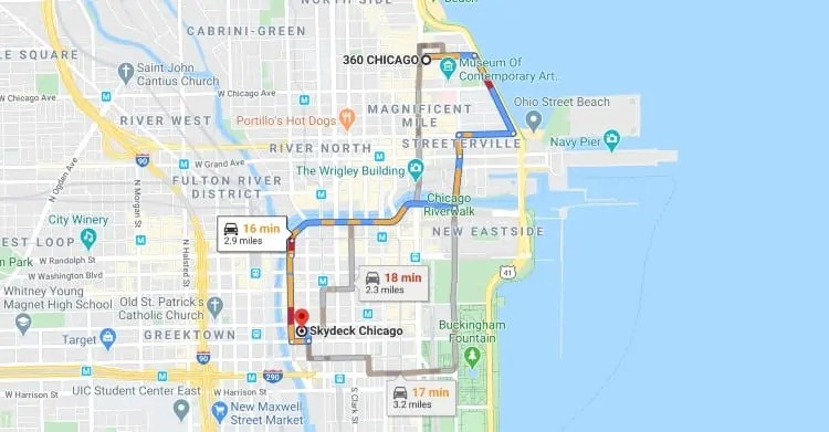 Distance between Skydeck Chicago and 360 Chicago