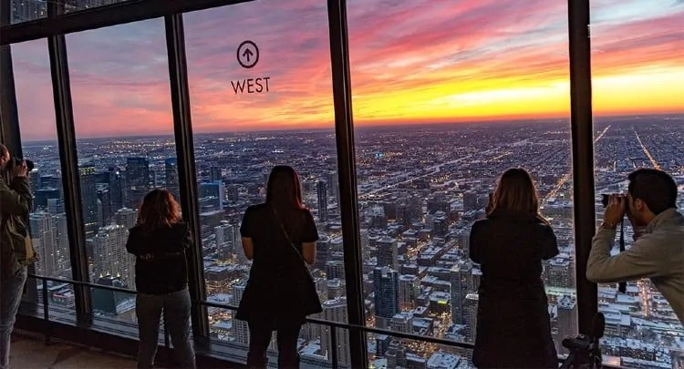 Sunset view from 360 Chicago