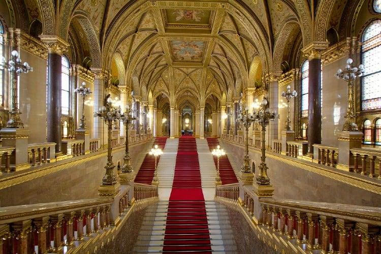 Grand Stairways in Budapest Parliament
