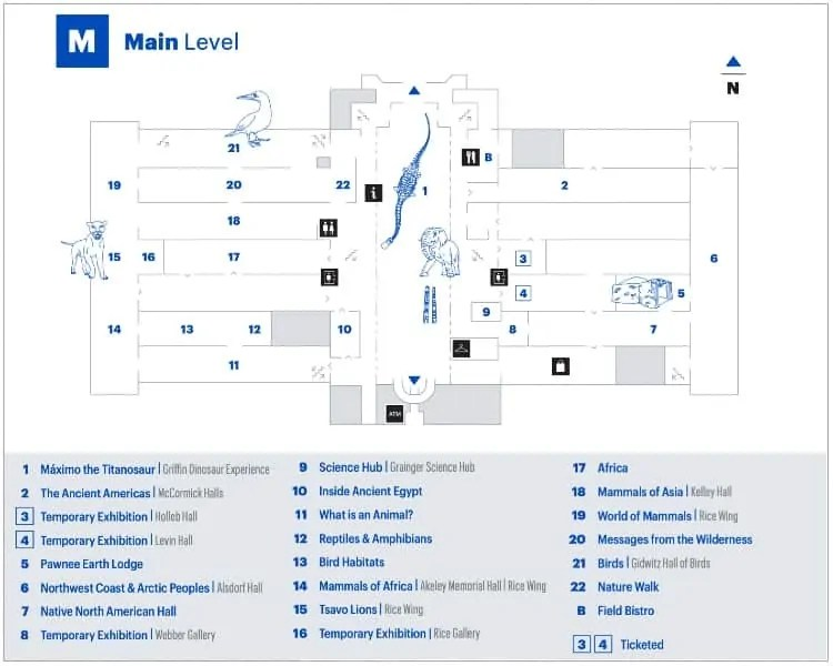 Field Museum's main level map