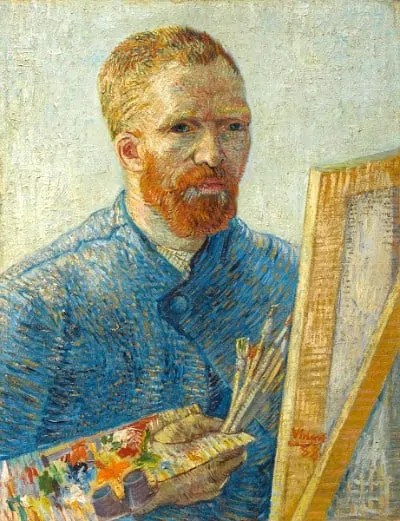 Self portrait as a painter at Van Gogh Museum