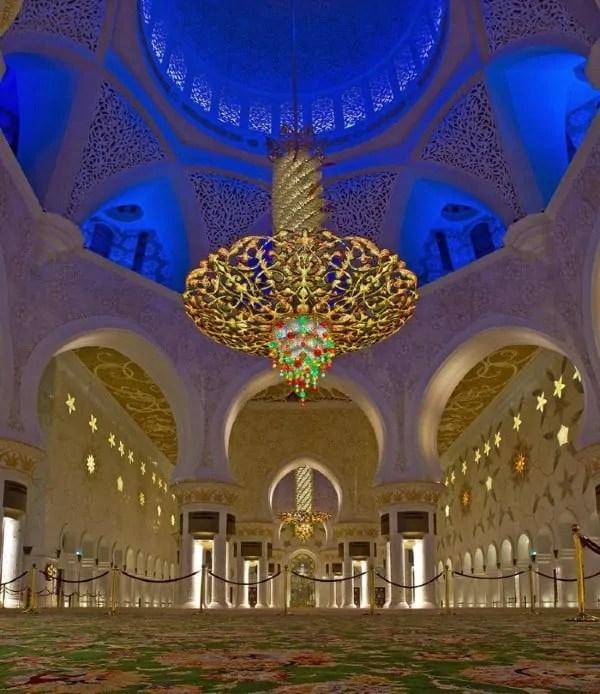 Chandelier in Main Prayer Hall of Sheikh Zayed Mosque
