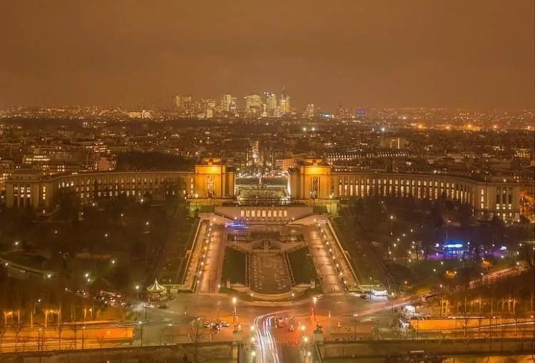 Night view from Eiffel Tower towards Trocadero Gardens