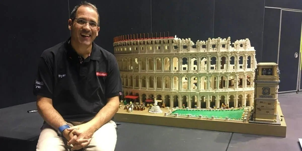 Ryan McNaught with his Lego Colosseum