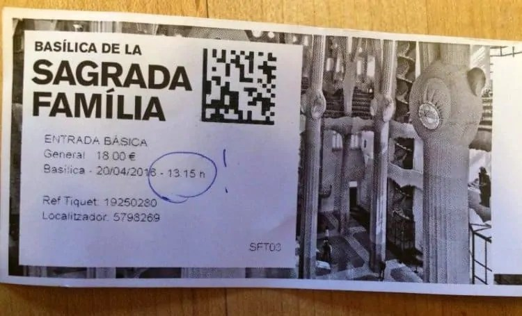 Sagrada Familia entry ticket