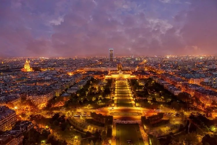 View from first floor of Eiffel Tower at night
