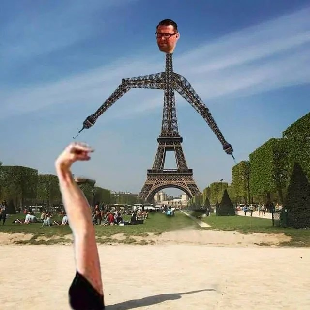 When the Eiffel Tower itself decides to touch the finger