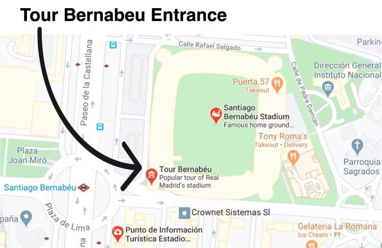 Bernabeu tour entrance in Tower B