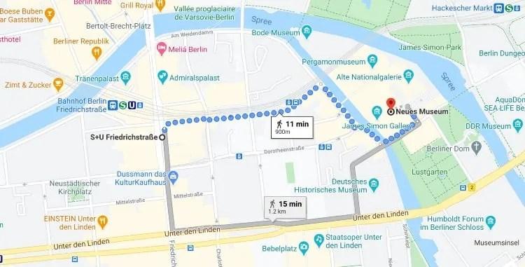 Friedrichstrasse station to Neues Museum