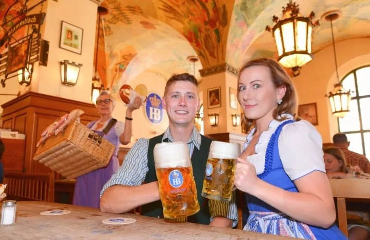 Couple drinking at Hofbrauhaus Munich