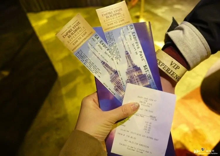 Express tickets of Empire State Building