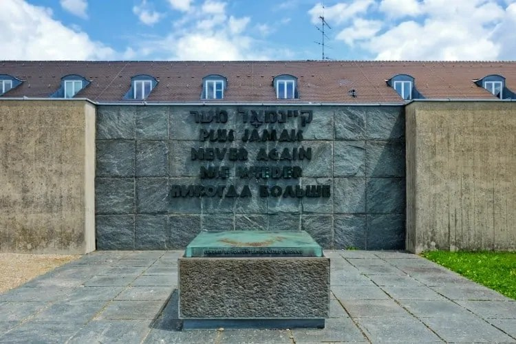 Never Again at Dachau Memorial site