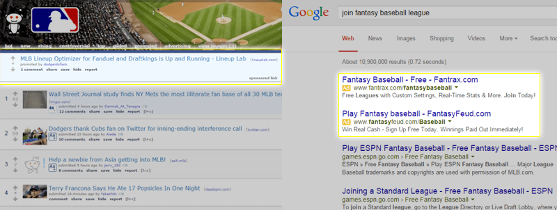 Note: Unlike Google ads, only one reddit self-serve ad will appear on a redditors display at any given time.