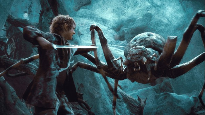 Bilbo Baggins faces a giant spider