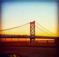 Sunset over the Benjamin Franklin Bridge