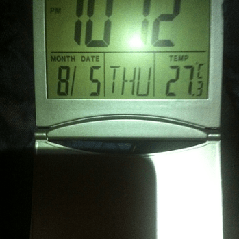 Night Sweats Unreliable thermometer tells me it's nearly 30C at 10pm. Camembert is consistency I've never seen before. No PJs for me tonight.