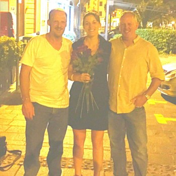 Two Lancastrian motorcyclists, who lavish me (and half the female population of Lake Garda) with roses when I reveal my Boltonian roots.