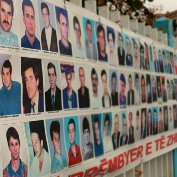 Poster in Pristina depicting the 'kidnapped and missing' during Serbia's brutal crackdown on Kosovo in 1999.