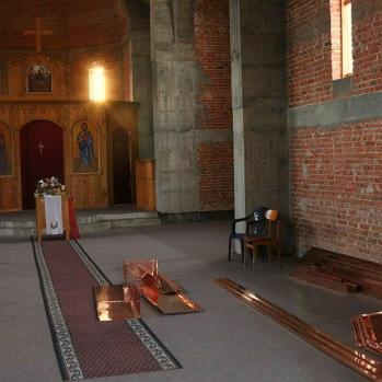 The lovely, simple church interior.