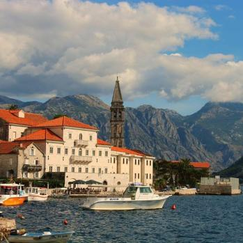 The beautiful old town of Perast on the Bay of Kotor, where cars are banned.
