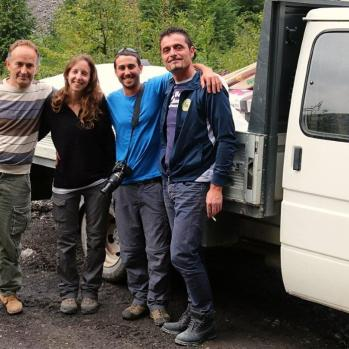 My hitch-hiking companions: an Albanian man currently working as a chef in Canada (left) and a young Israeli couple (centre).