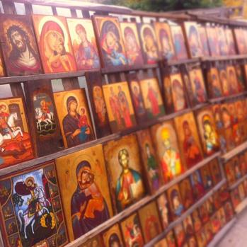 Endless shelves of garish religious icons.