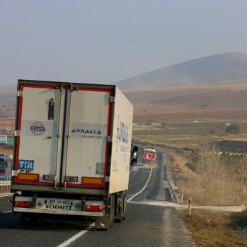 Back battling the trucks again en route to the spa town of Haymana.