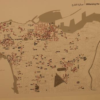 Artwork showing presence of military in streets of Beirut.