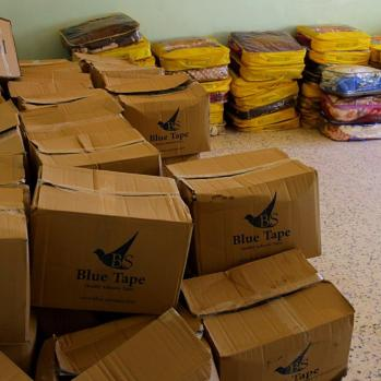 Boxes of clothes for residents.